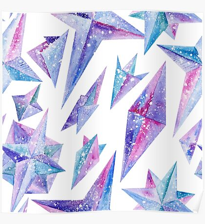 Watercolor Ice Wind Rose Crystals Poster