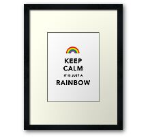 Keep Calm Rainbow on white Framed Print