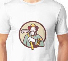 Fireman Firefighter Holding Fire Axe Circle Retro Unisex T-Shirt