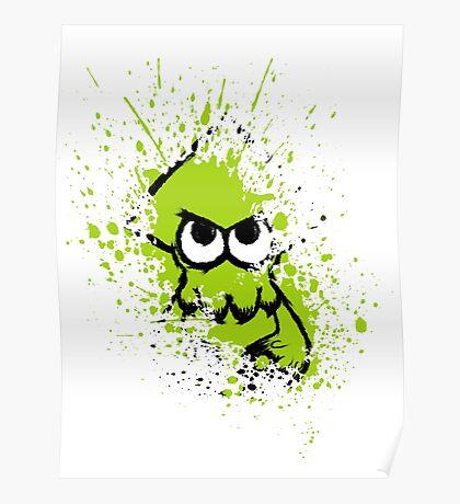 Splatoon Black Squid with Blank Eyes on Green Splatter Mask White Version Poster