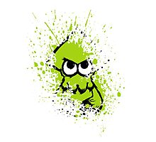 Splatoon Black Squid with Blank Eyes on Green Splatter Mask White Version Photographic Print
