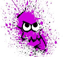 Splatoon Black Squid with Blank Eyes on Purple Splatter Mask White Version by Martin Mothiron