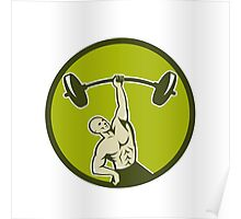 Weightlifter Lifting Barbell Circle Retro Poster