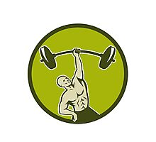 Weightlifter Lifting Barbell Circle Retro Photographic Print