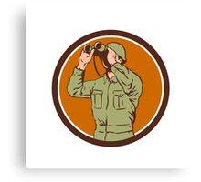 World War Two American Soldier Binoculars Retro Circle Canvas Print