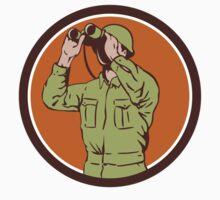 World War Two American Soldier Binoculars Retro Circle by patrimonio