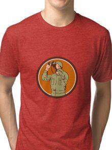 World War Two American Soldier Binoculars Retro Circle Tri-blend T-Shirt
