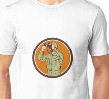 World War Two American Soldier Binoculars Retro Circle Unisex T-Shirt