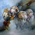 Kelpie Sheep Montage - Australian Kelpie Series by Pieter  Zaadstra
