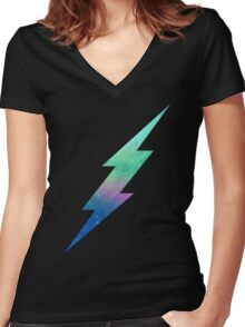 Galactic Bolt Women's Fitted V-Neck T-Shirt