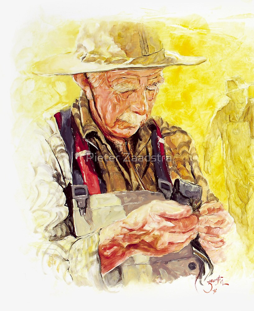 Fly Fisher tying his fly - Portrait by Pieter  Zaadstra