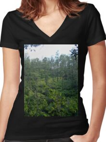 an awesome Belize landscape Women's Fitted V-Neck T-Shirt