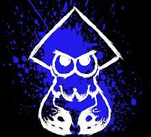 Splatoon White Squid on Blue Splatter by Martin Mothiron