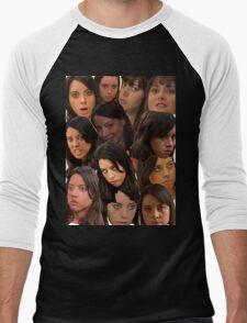 April Ludgate Collage Men's Baseball ¾ T-Shirt