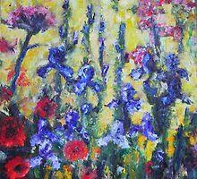 Blooming blue iris & red poppies by sharlesart
