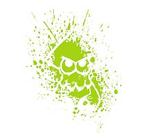 Splatoon White Squid on Green Splatter Mask Photographic Print