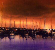 San Diego Harbor Midnight Moon by Rhonda Strickland