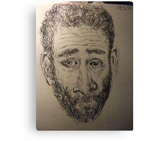 Self-portrait -(190515)- Black biro pen/A5 sketchbook Canvas Print