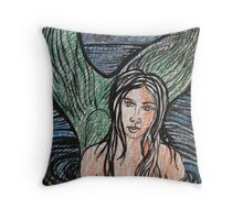 Mermaid Drawing #4 Throw Pillow