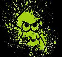 Splatoon Black Squid on Green Splatter Mask by Martin Mothiron