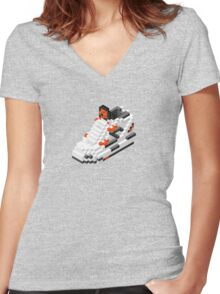 The Pump Pixel 3D Sneaker Women's Fitted V-Neck T-Shirt