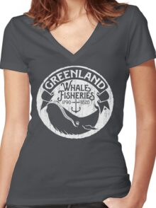 Greenland Whale Fisheries Women's Fitted V-Neck T-Shirt