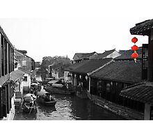 Red lantern alert: river traffic jam! Photographic Print