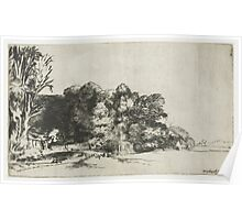 Drawing - Farmhouse among the Trees, Rembrandt Harmensz. van Rijn, 1652  Poster