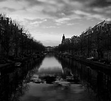 Amsterdam Canal 4 Black and White by Eyeswide