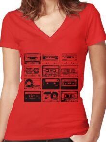 Retro Music 12 Women's Fitted V-Neck T-Shirt