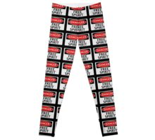 DANGER FREE SPIRIT, FAKE FUNNY SAFETY SIGN SIGNAGE Leggings
