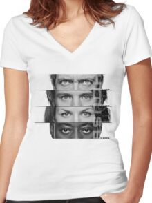 House Faces Women's Fitted V-Neck T-Shirt