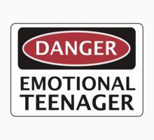DANGER EMOTIONAL TEENAGER FAKE FUNNY SAFETY SIGN SIGNAGE One Piece - Short Sleeve