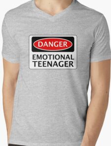 DANGER EMOTIONAL TEENAGER FAKE FUNNY SAFETY SIGN SIGNAGE Mens V-Neck T-Shirt