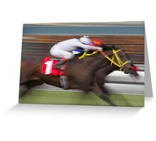 Neck and Neck Horse Race Greeting Card