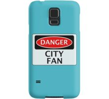 DANGER CITY FAN, FOOTBALL FUNNY FAKE SAFETY SIGN Samsung Galaxy Case/Skin