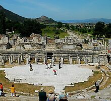 View of Collonade from the Great Theatre, Ephesus by Johannes  Huntjens