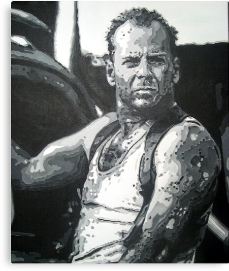 Bruce willis in die hard iconic piece by artist Debbie Boyle - db artstudio by Deborah Boyle