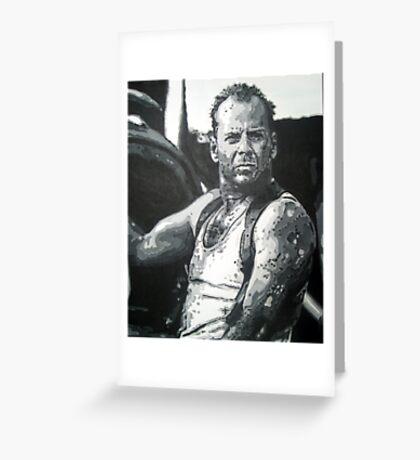 Bruce willis in die hard iconic piece by artist Debbie Boyle - db artstudio Greeting Card