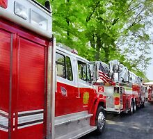 Long Line of Fire Trucks by Susan Savad