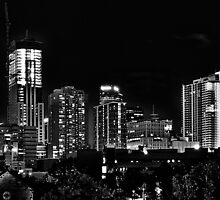 Lower Downtown Denver Panorama in Black and White by ShotByAWolf
