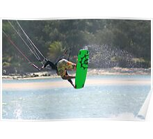 Kite surfing at Currumbin Alley. Poster