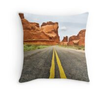 Road to Arches Throw Pillow