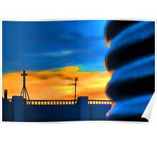 Water Tower at Sunset - Coober Pedy Poster