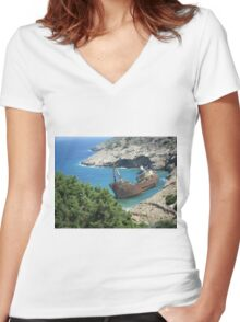Greek Island Ship Wreck Women's Fitted V-Neck T-Shirt