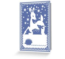 Doe & Fawn...with hedgehog Greeting Card