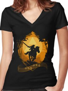 Epona's Song Women's Fitted V-Neck T-Shirt