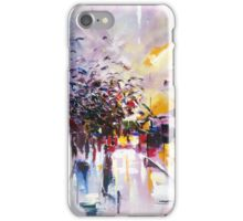 Birds on the street ( abstract city street landscape ) iPhone Case/Skin
