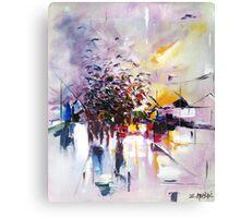 Birds on the street ( abstract city street landscape ) Canvas Print