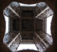 Looking up at the Eiffel Tower - Paris France by kelliejane